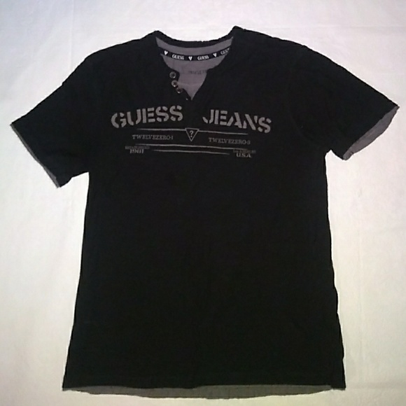 All Mens Sale Guess >> Sale Guess Men S Layered Graphic Henley Tee